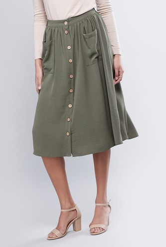 Solid A-line Midi Skirt with Buttons