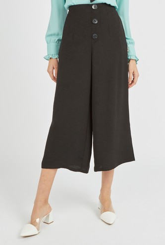 Solid Mid-Rise Culotte with Pocket Detail and Elasticised Waistband