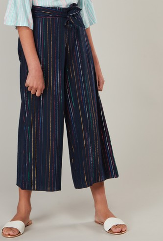 Striped Culotte Pants with Drawstring Closure