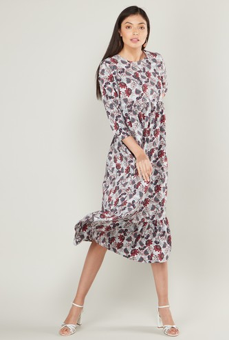 Printed Midi A-line Dress with Round Neck and 3/4 Sleeves