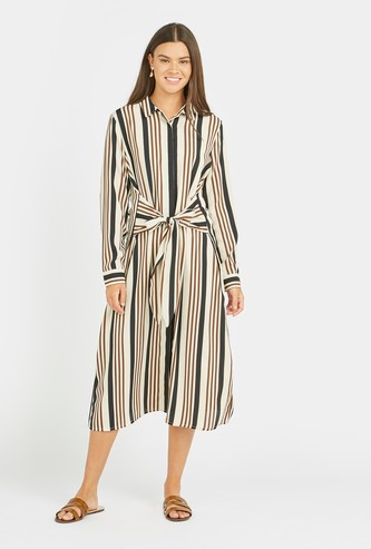 Striped Midi Shirt Dress with Long Sleeves and Tie Ups