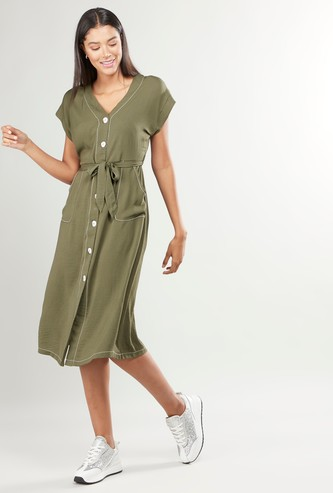 Plain Midi Dress with Pocket Detail and Tie Ups