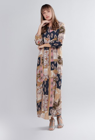 Printed Maxi A-line Dress with Long Sleeves
