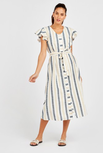 Striped Midi Dress with Flared Cap Sleeves and Tie-Ups
