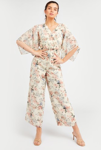 Floral Print Wrap Jumpsuit with V-neck and Flared Sleeves