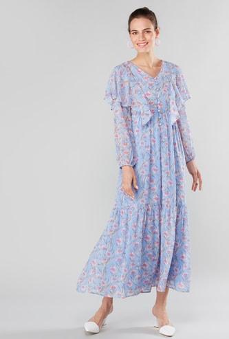 فستان ماكسي بطبعات أزهار وأكمام طويلة وياقة V