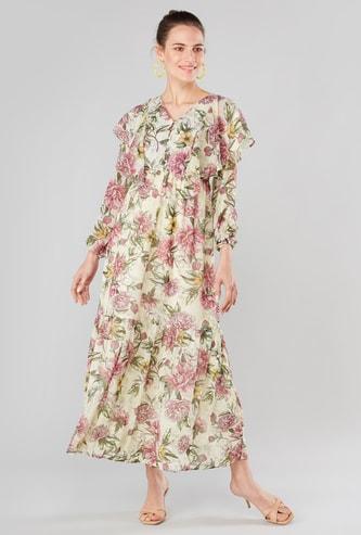 فستان متوسط الطول بياقة V وأكمام طويلة وطبعات أزهار
