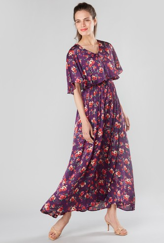 Floral Printed Maxi A-line Dress with Frill Layer