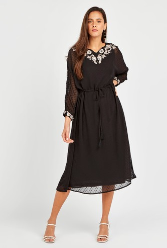 Woven Midi Dress with Floral Embroidery and Long Sheer Sleeves