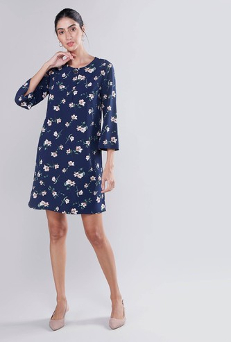 Floral Printed Midi Shift Dress with 3/4 Sleeves