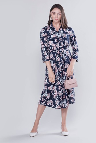 Printed Midi Shirt Dress with 3/4 Sleeves and Tie Ups