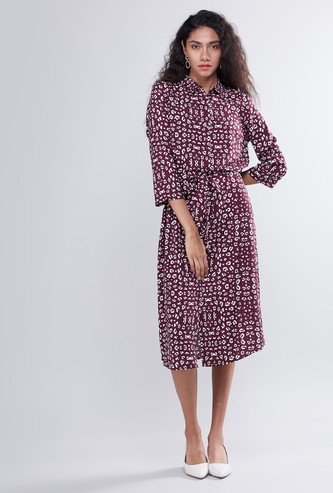 Animal Print Midi Shirt Dress with Tie Up
