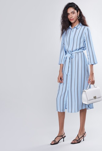 Striped Midi Shirt Dress with 3/4 Sleeves and Belt