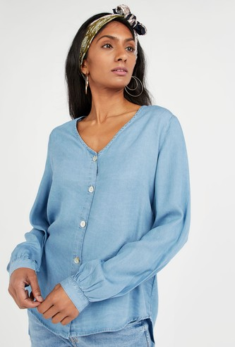 Solid Shirt with Long Sleeves and High Low Hem