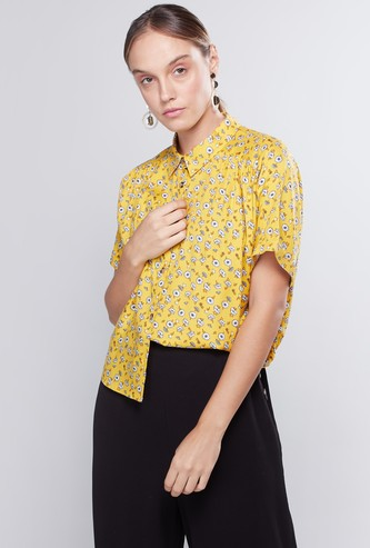 Printed Crop Shirt with Short Sleeves and Spread Collar