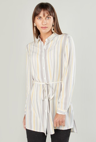 Striped Tunic with Long Sleeves and Tie Ups