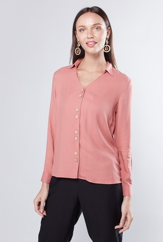 Solid V-neck Button Down Shirt with Long Sleeves