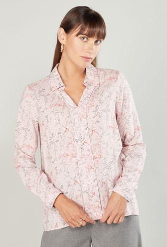 قميص بأكمام طويلة وطبعات زهرية