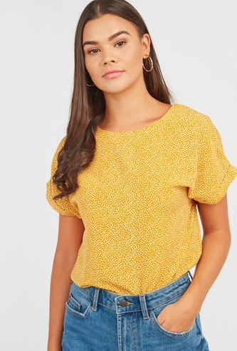 Printed Top with Round Neck and Extended Sleeves