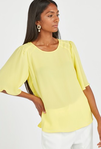 Solid Top with Round Neck and Flared Sleeves
