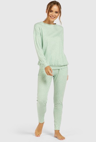 All-Over Print Long Sleeves Sweatshirt and Pyjama Set