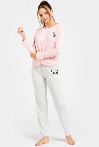 Panda Graphic Print Long Sleeves T-shirt and Pyjama Set