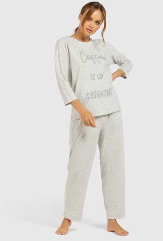 Slogan Print 3/4 Sleeves T-shirt and Full Length Pyjama Set
