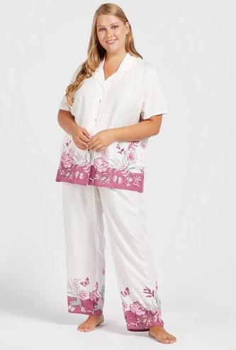 Floral Print Short Sleeves Sleepshirt and Pyjama Set