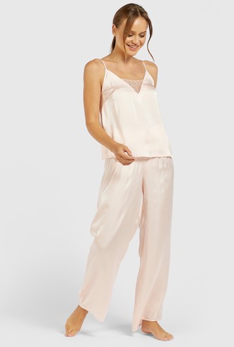 Solid V-neck Sleeveless Top and Pyjama Set