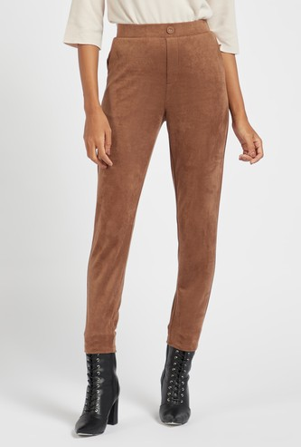 Solid Cropped Pants with Pockets and Elasticised Waistband