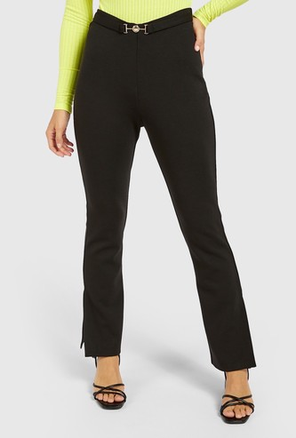 Solid Trousers with Side Slit Detail and Belt