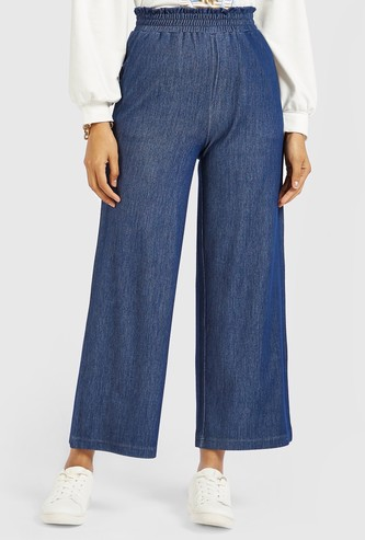 Solid Mid-Rise Denim Palazzos with Pockets and Elasticised Waistband