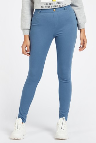 Full Length Solid Twill Jeggings with Pockets and Button Closure