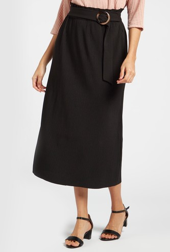 Pleated Midi A-line Skirt with Buckled Belt Accent