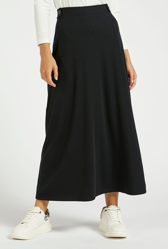 Solid Ribbed Midi A-line Skirt with Button Detail