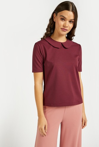 Peter Pan Collar Top with Short Sleeves