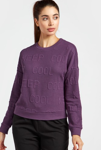 Slogan Textured Round Neck Sweatshirt with Long Sleeves