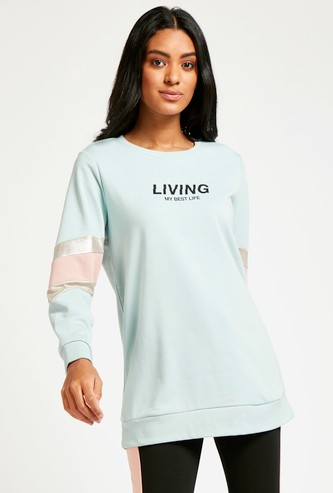 Printed Longline Sweatshirt with Round Neck and Long Sleeves