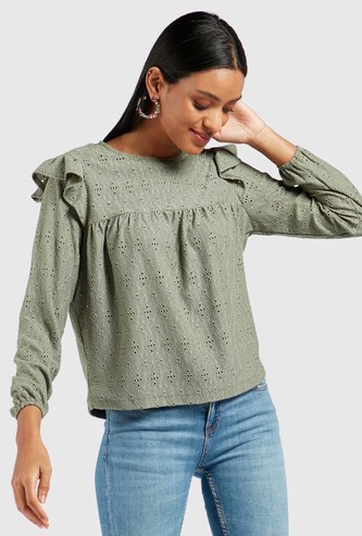 Schiffli Detail Top with Round Neck and Long Sleeves