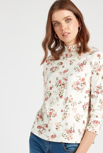 Floral Print High Neck Top with 3/4 Sleeves