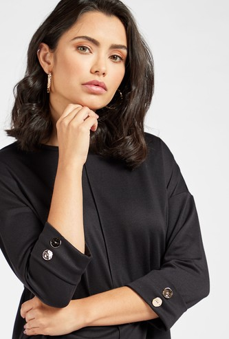 Solid Tunic Top with Round Neck and 3/4 Sleeves