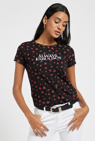 All-Over Graphic Print T-shirt with Round Neck and Cap Sleeves