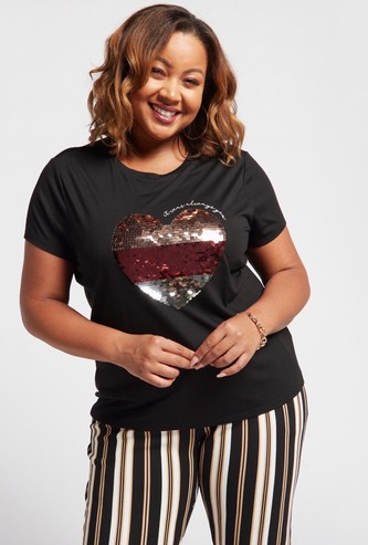 Heart Sequin Embellished Round Neck T-shirt with Cap Sleeves
