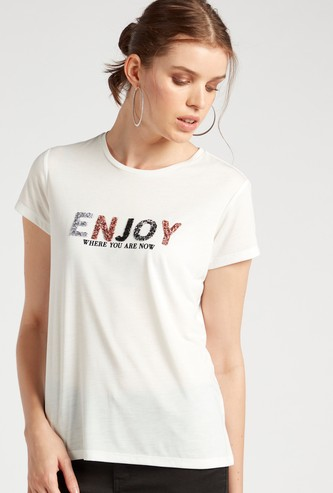 Embellished Detail T-shirt with Round Neck and Cap Sleeves