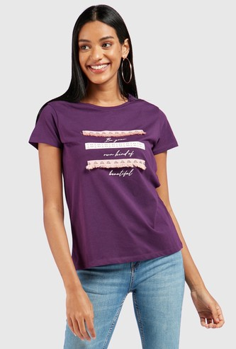 Printed T-shirt with Tape Applique Detail and Cap Sleeves