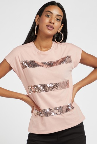 Sequin Detail Round Neck T-shirt with Cap Sleeves