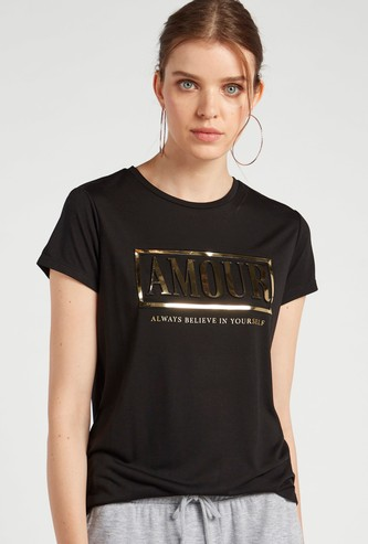 Text Foil Embossed T-shirt with Round Neck and Short Sleeves