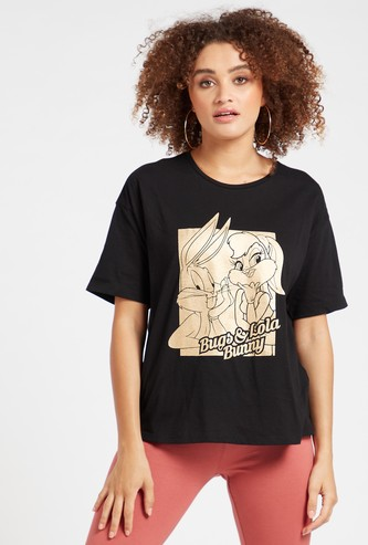 Bugs Bunny Graphic Print License T-shirt with Short Sleeves
