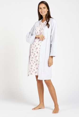 Printed Maternity Sleep Dress and Long Sleeves Robe Set