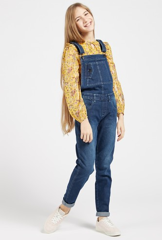 Full Length Solid Denim Dungarees with Adjustable Straps and Pockets